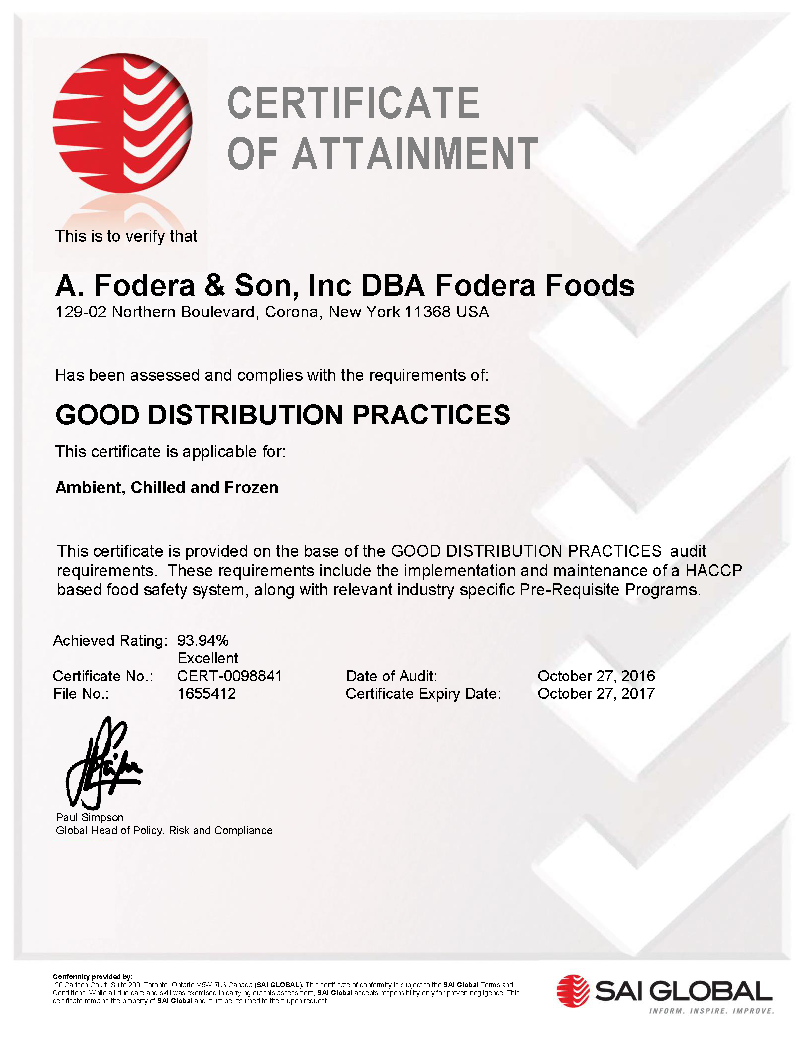 Fodera foods passing the rigorous and thorough standards of gmpglobal manufacturing practices certification insuring you of the highest quality standard of food 1betcityfo Gallery